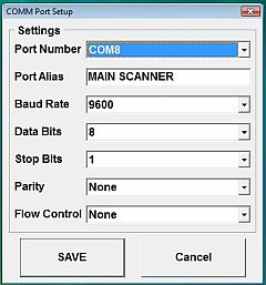 Barcode Wedge Serial Port Setup Screen