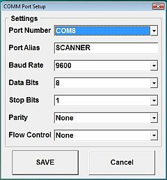 Serial Wedge Serial Port Setup Screen